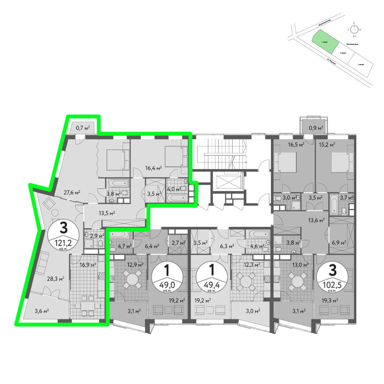 Продаётся 3-комнатная квартира в новостройке 121.6 кв.м. этаж 4/6 за 38 325 888 руб