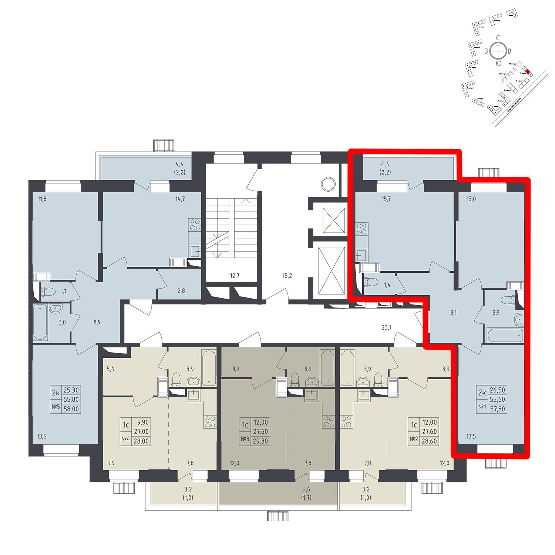 Продаётся 2-комнатная квартира в новостройке 57.8 кв.м. этаж 8/12 за 9 275 282 руб