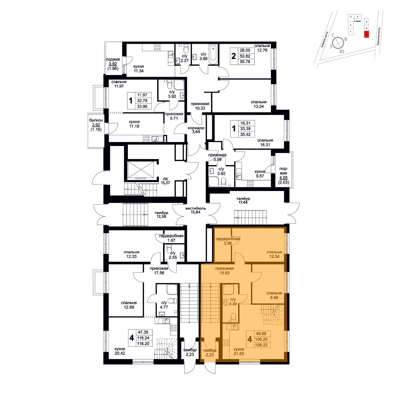 Продаётся 4-комнатная квартира в новостройке 108.2 кв.м. этаж 1/8 за 11 174 689 руб