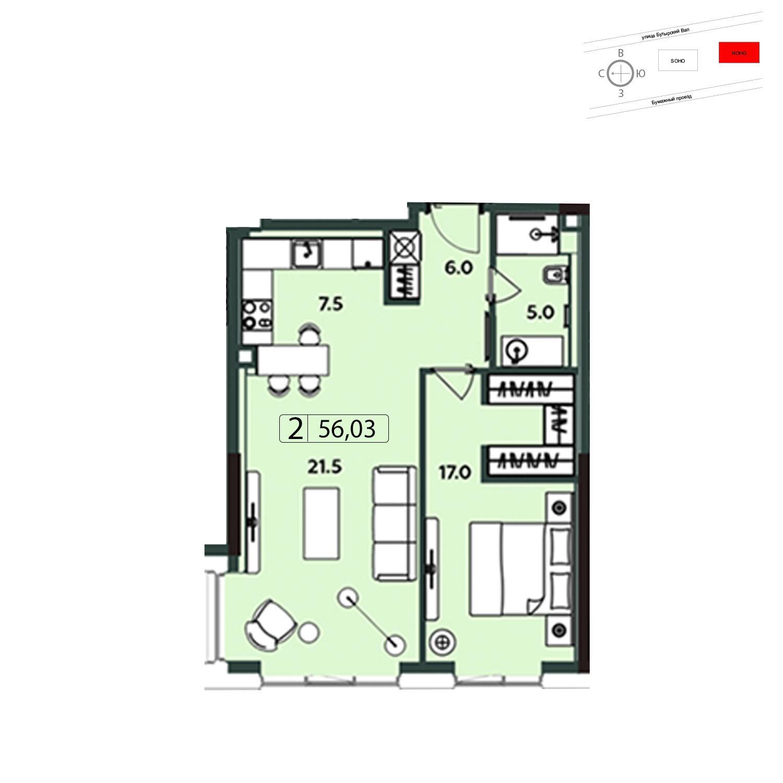 Продаётся 2-комнатная квартира в новостройке 57.0 кв.м. этаж 10/20 за 20 784 195 руб