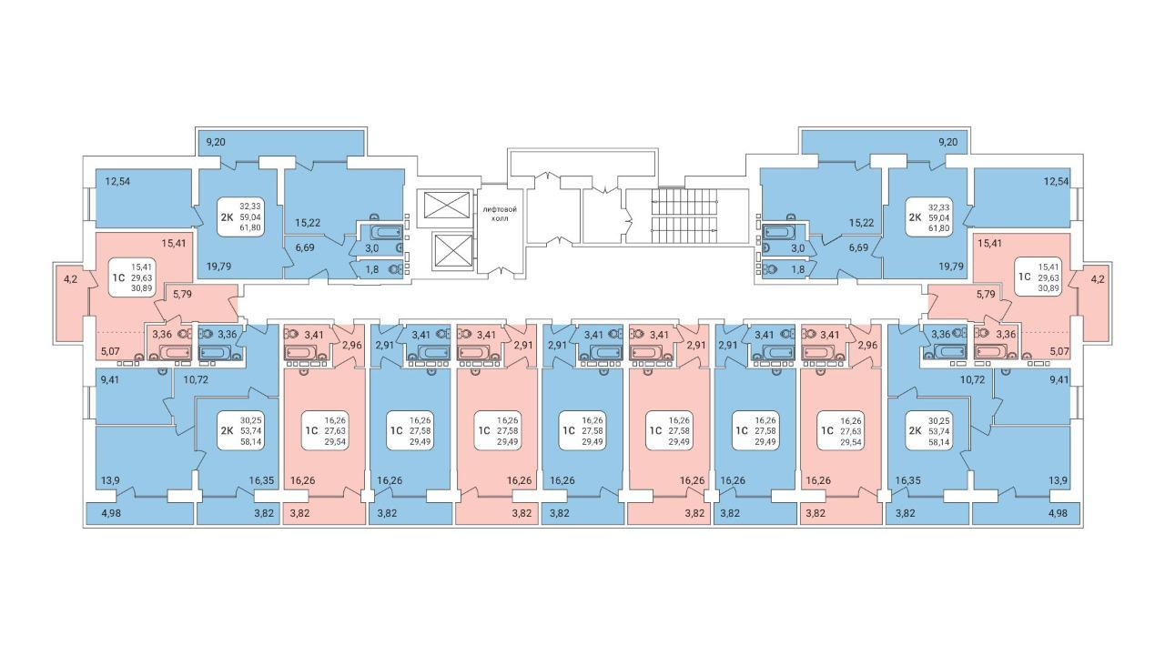 Продаётся 2-комнатная квартира в новостройке 61.8 кв.м. этаж 17/17 за 4 420 000 руб