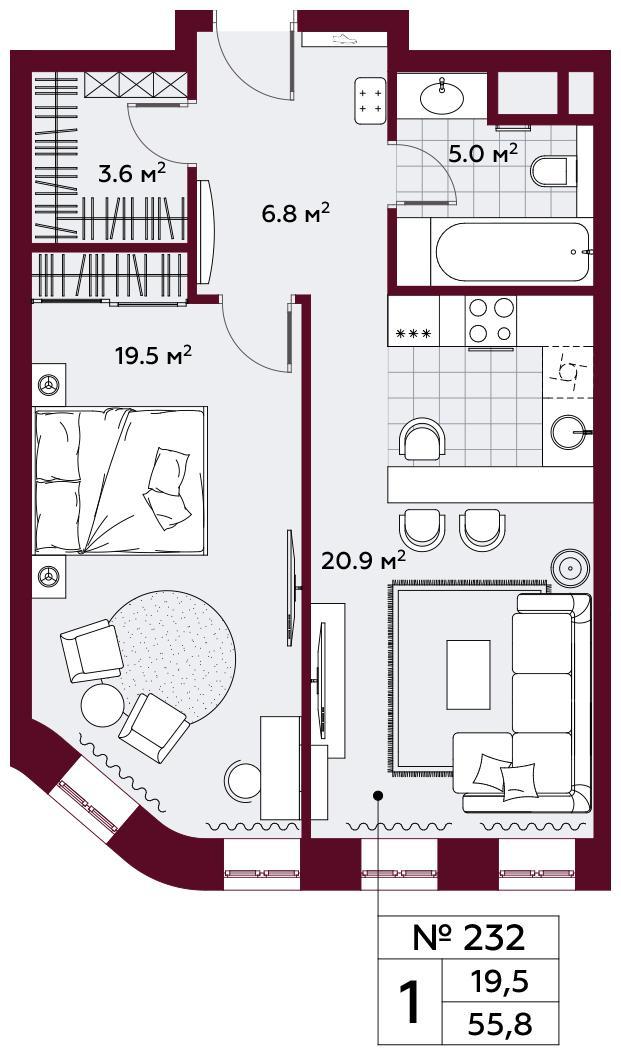 Продаётся 1-комнатная квартира в новостройке 55.8 кв.м. этаж 7/10 за 22 643 640 руб