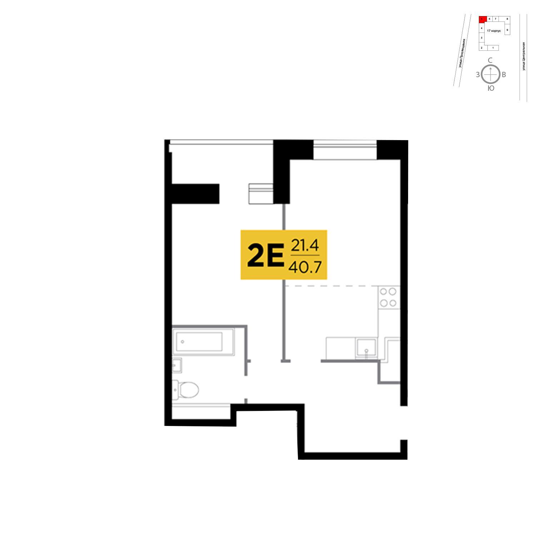 Продаётся 2-комнатная квартира в новостройке 40.7 кв.м. этаж 5/16 за 5 565 921 руб