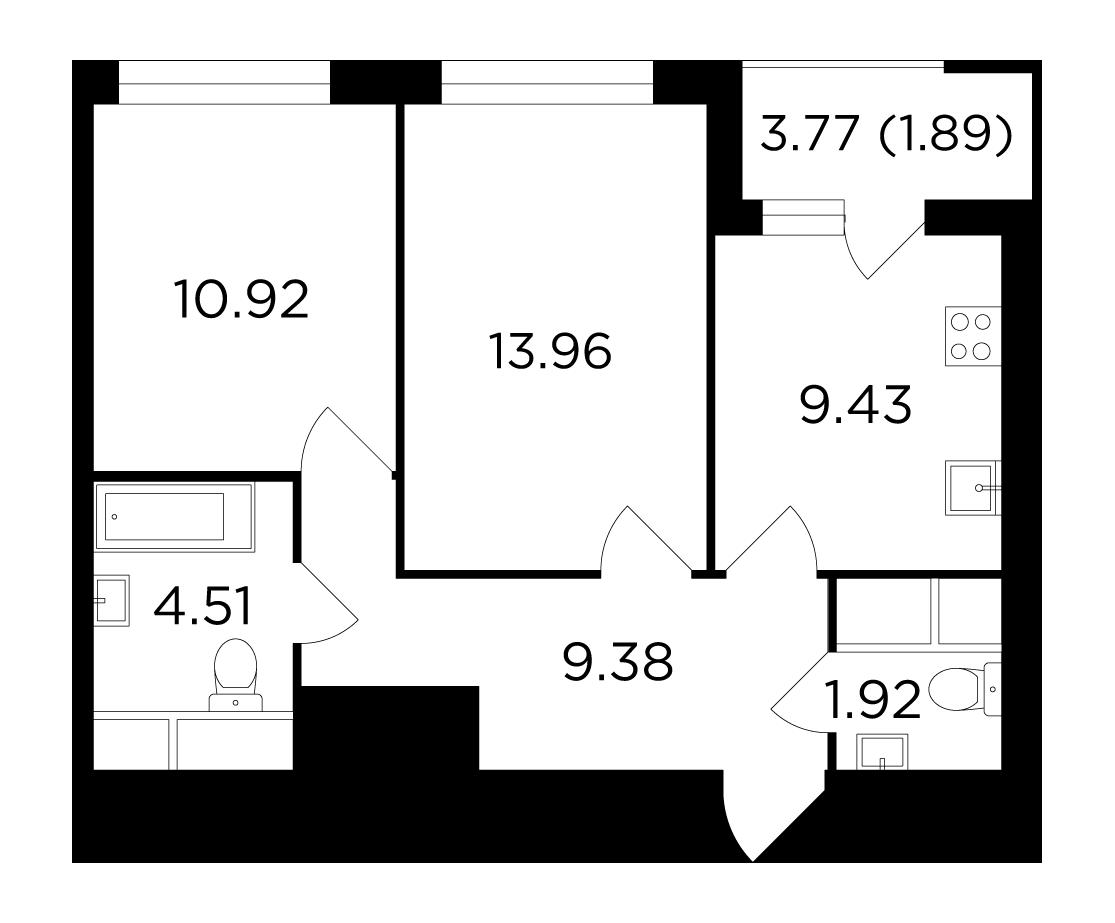 Продаётся 2-комнатная квартира в новостройке 52.0 кв.м. этаж 12/24 за 8 562 406 руб