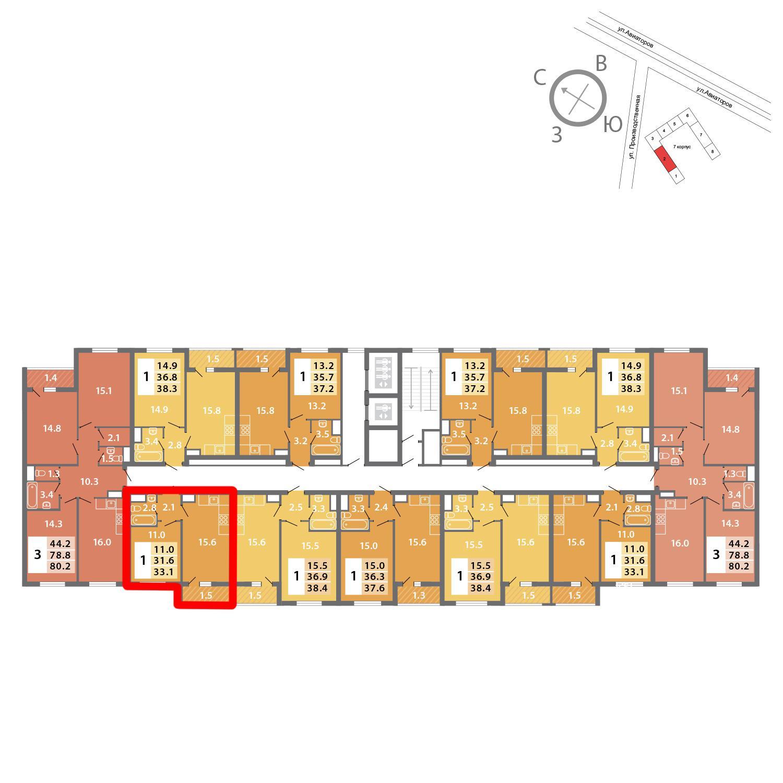 Продаётся 1-комнатная квартира в новостройке 33.1 кв.м. этаж 12/19 за 9 071 664 руб