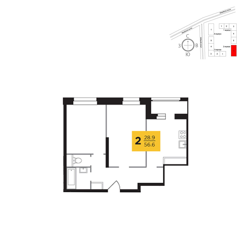 Продаётся 2-комнатная квартира в новостройке 56.6 кв.м. этаж 19/23 за 12 746 333 руб