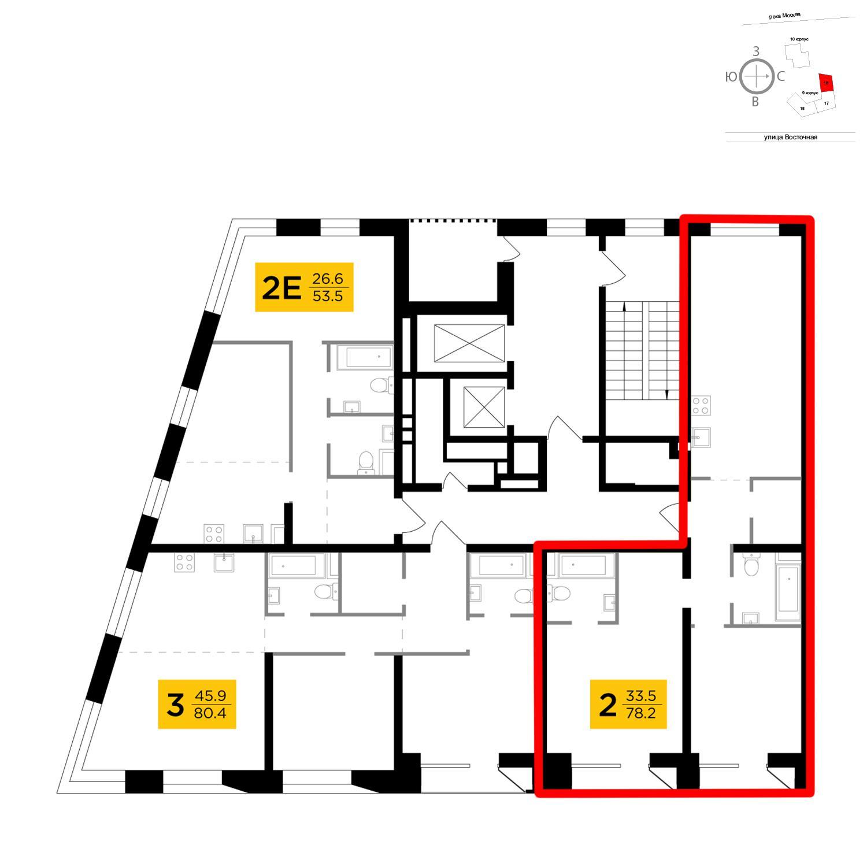 Продаётся 2-комнатная квартира в новостройке 78.2 кв.м. этаж 4/16 за 29 780 592 руб