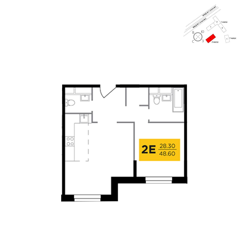 Продаётся 2-комнатная квартира в новостройке 48.6 кв.м. этаж 7/24 за 6 797 925 руб