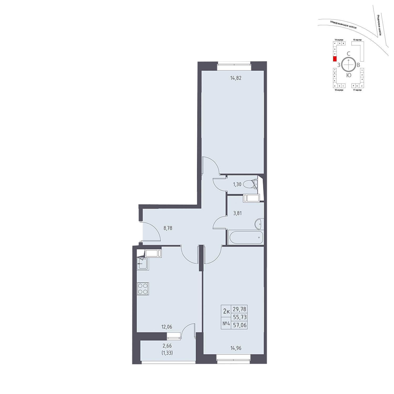 Продаётся 2-комнатная квартира в новостройке 57.1 кв.м. этаж 16/17 за 6 587 063 руб
