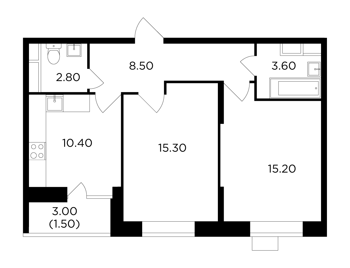 Продаётся 2-комнатная квартира в новостройке 57.3 кв.м. этаж 7/15 за 6 997 991 руб