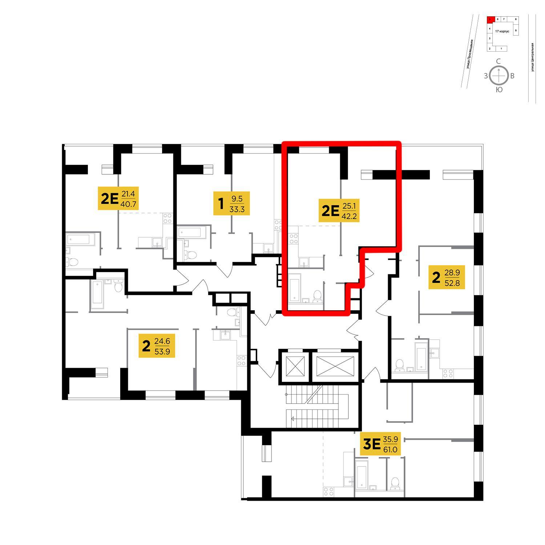 Продаётся 2-комнатная квартира в новостройке 42.2 кв.м. этаж 12/16 за 6 116 757 руб