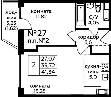 Продаётся 2-комнатная квартира в новостройке 41.3 кв.м. этаж 7/17 за 6 180 330 руб