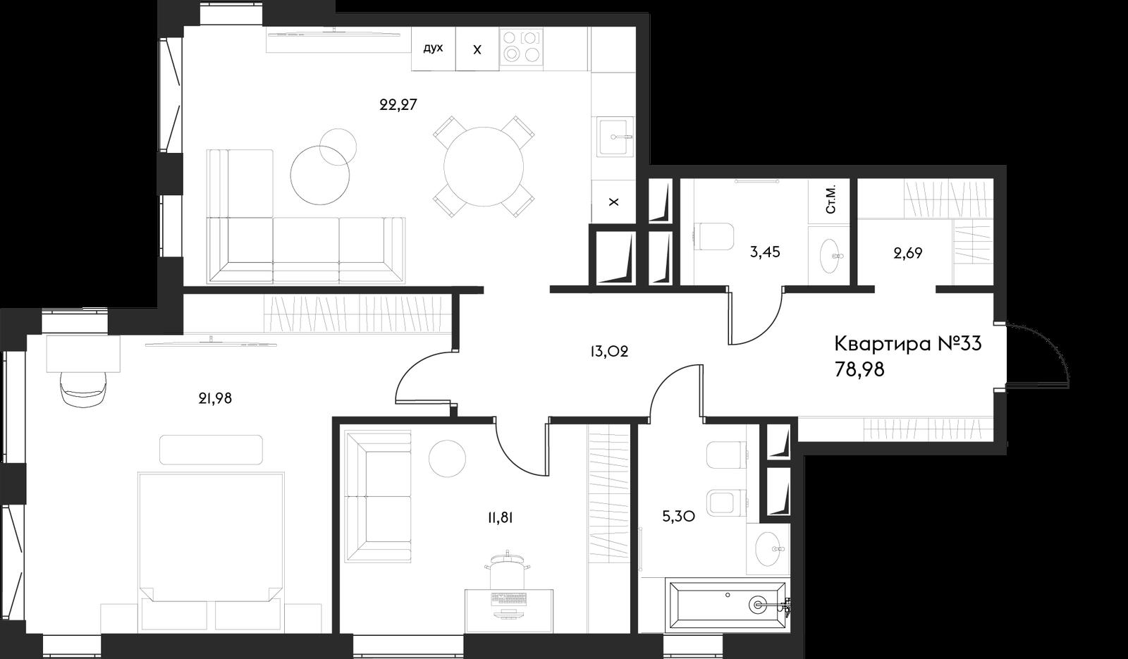 Продаётся 2-комнатная квартира в новостройке 79.0 кв.м. этаж 11/17 за 52 323 352 руб