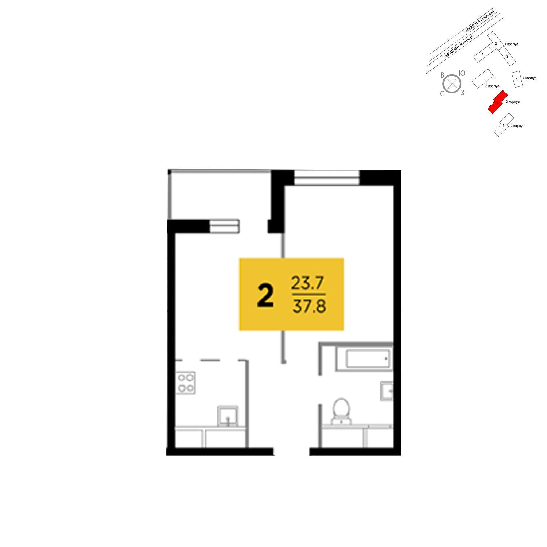 Продаётся 2-комнатная квартира в новостройке 37.8 кв.м. этаж 13/24 за 3 854 466 руб