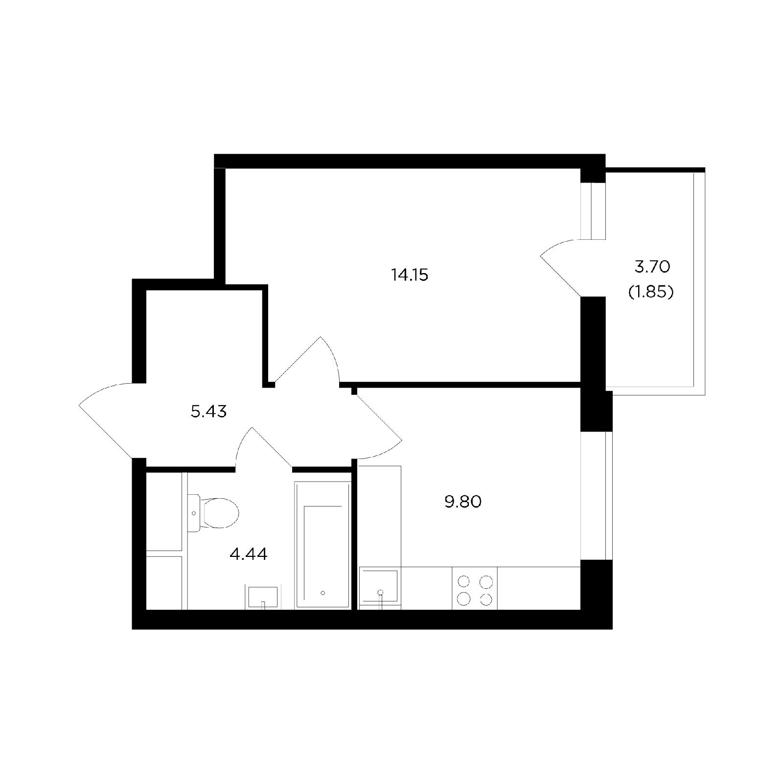 Продаётся 1-комнатная квартира в новостройке 35.6 кв.м. этаж 15/24 за 6 369 982 руб