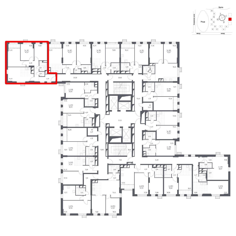 Продаётся 3-комнатная квартира в новостройке 67.1 кв.м. этаж 11/31 за 8 406 042 руб