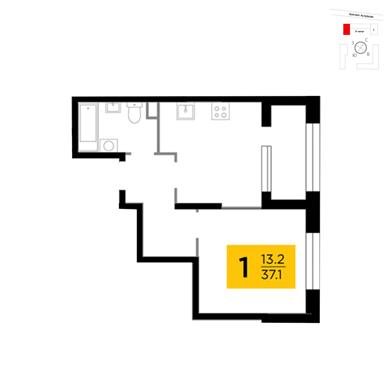 Продаётся 1-комнатная квартира в новостройке 37.1 кв.м. этаж 15/18 за 6 439 946 руб