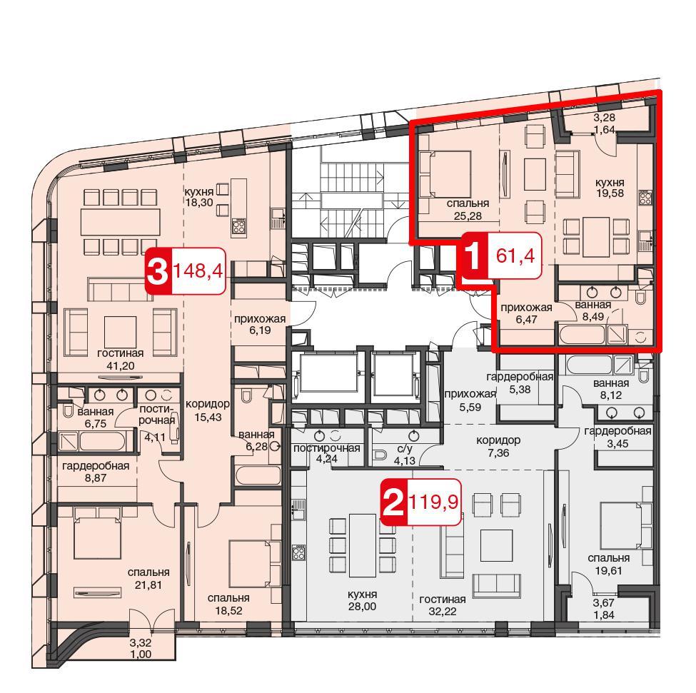 Продаётся 1-комнатная квартира в новостройке 61.5 кв.м. этаж 4/11 за 34 999 999 руб