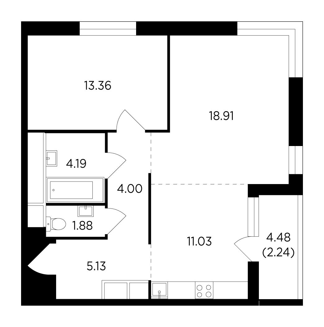 Продаётся 2-комнатная квартира в новостройке 60.7 кв.м. этаж 20/25 за 9 552 276 руб