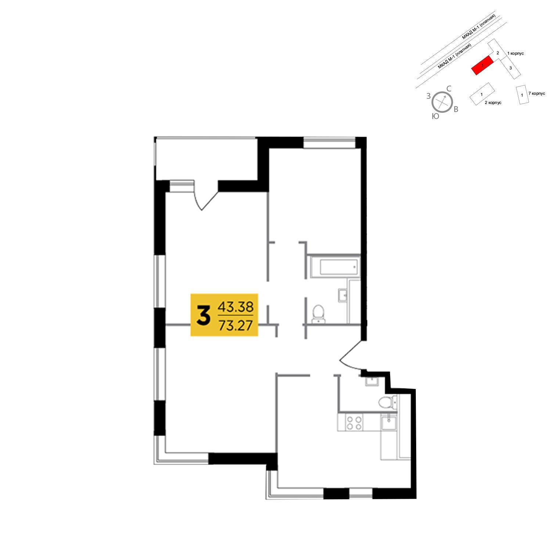Продаётся 3-комнатная квартира в новостройке 73.3 кв.м. этаж 5/25 за 9 729 414 руб