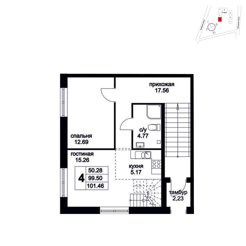 Продаётся 4-комнатная квартира в новостройке 101.5 кв.м. этаж 1/8 за 12 048 375 руб