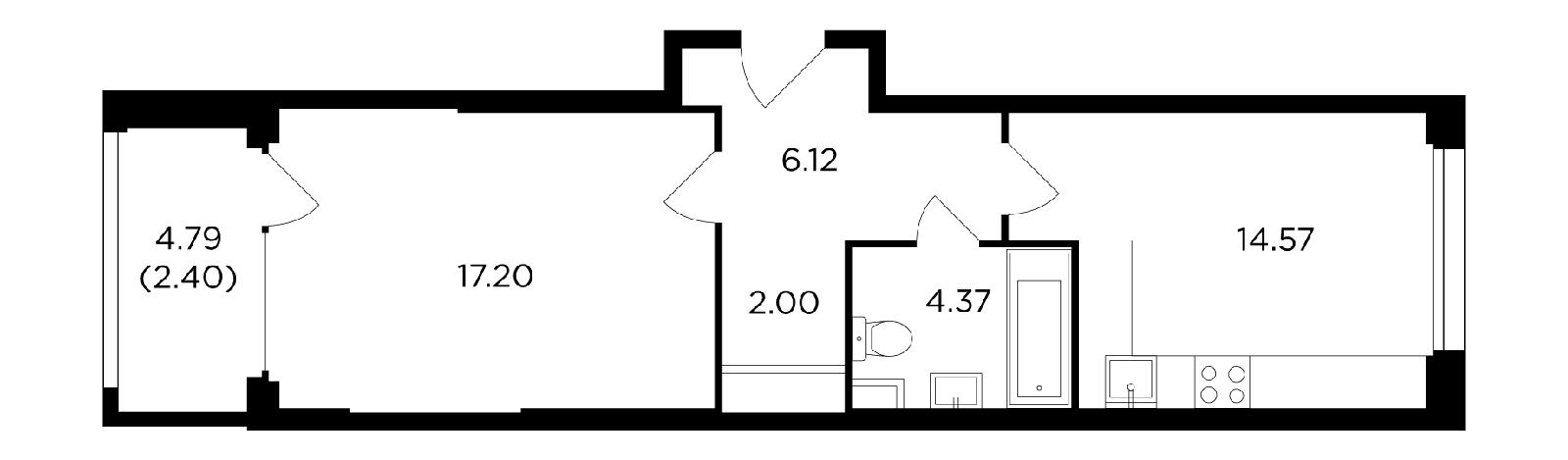 Продаётся 1-комнатная квартира в новостройке 46.6 кв.м. этаж 15/21 за 18 440 989 руб