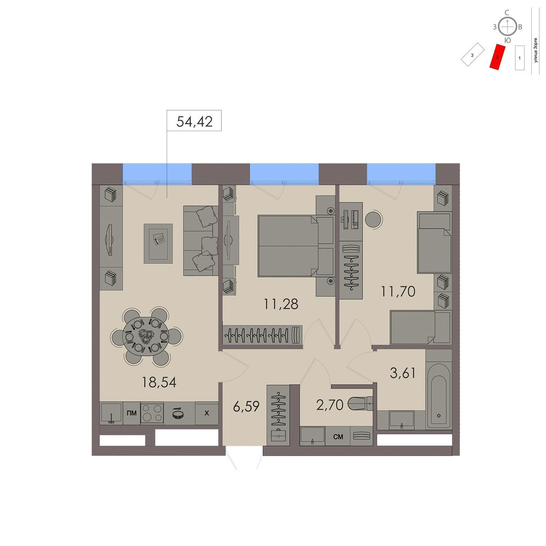 Продаётся 1-комнатная квартира в новостройке 26.7 кв.м. этаж 3/21 за 9 939 800 руб