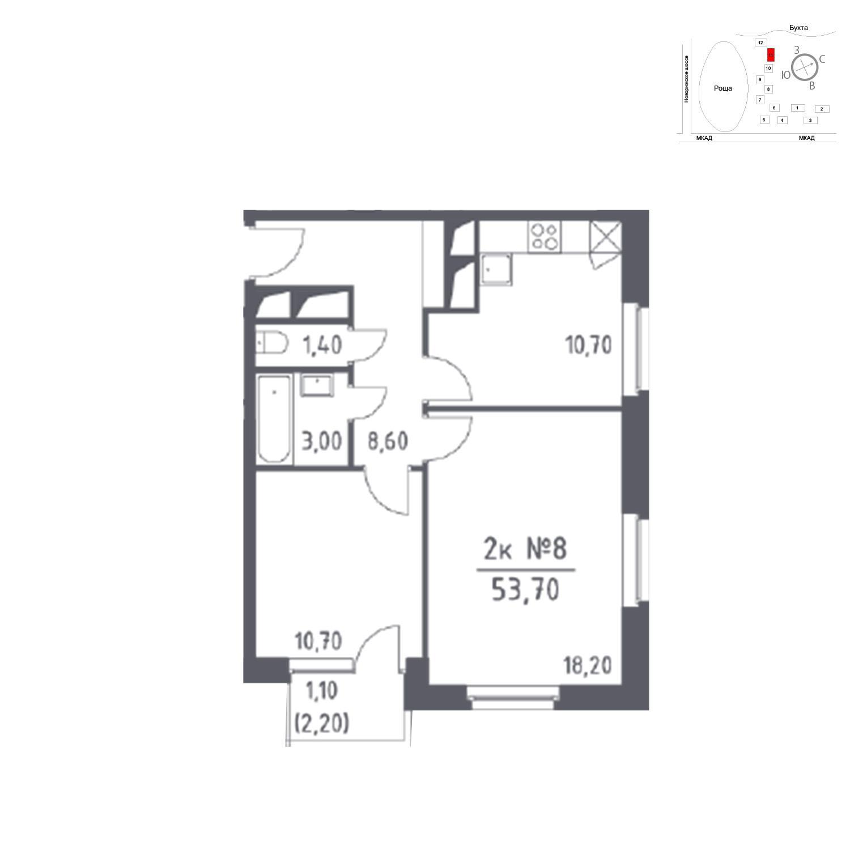 Продаётся 2-комнатная квартира в новостройке 53.7 кв.м. этаж 13/33 за 0 руб