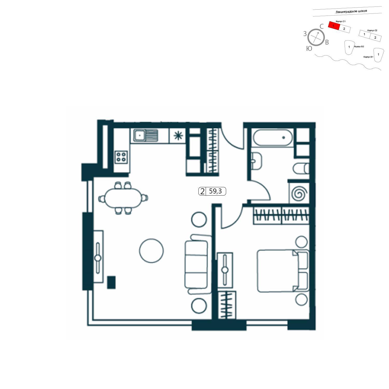 Продаётся 2-комнатная квартира в новостройке 59.4 кв.м. этаж 1/14 за 14 497 269 руб