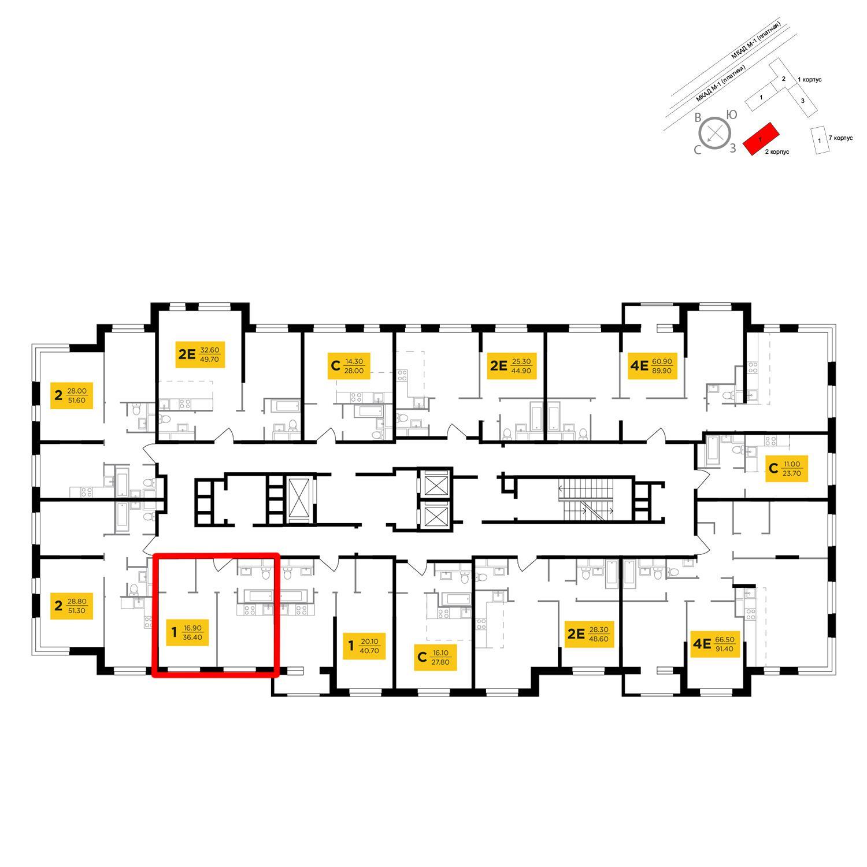Продаётся 1-комнатная квартира в новостройке 36.3 кв.м. этаж 16/24 за 5 820 087 руб