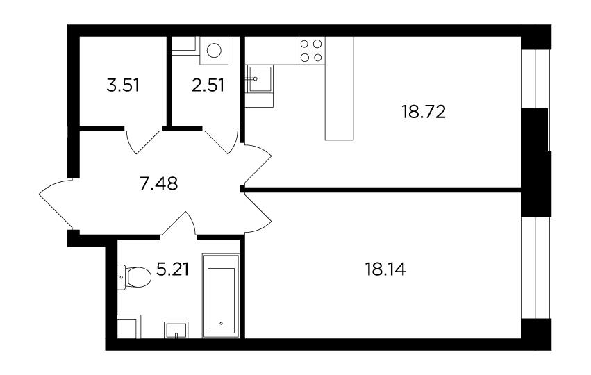 Продаётся 1-комнатная квартира в новостройке 55.6 кв.м. этаж 16/19 за 22 255 229 руб