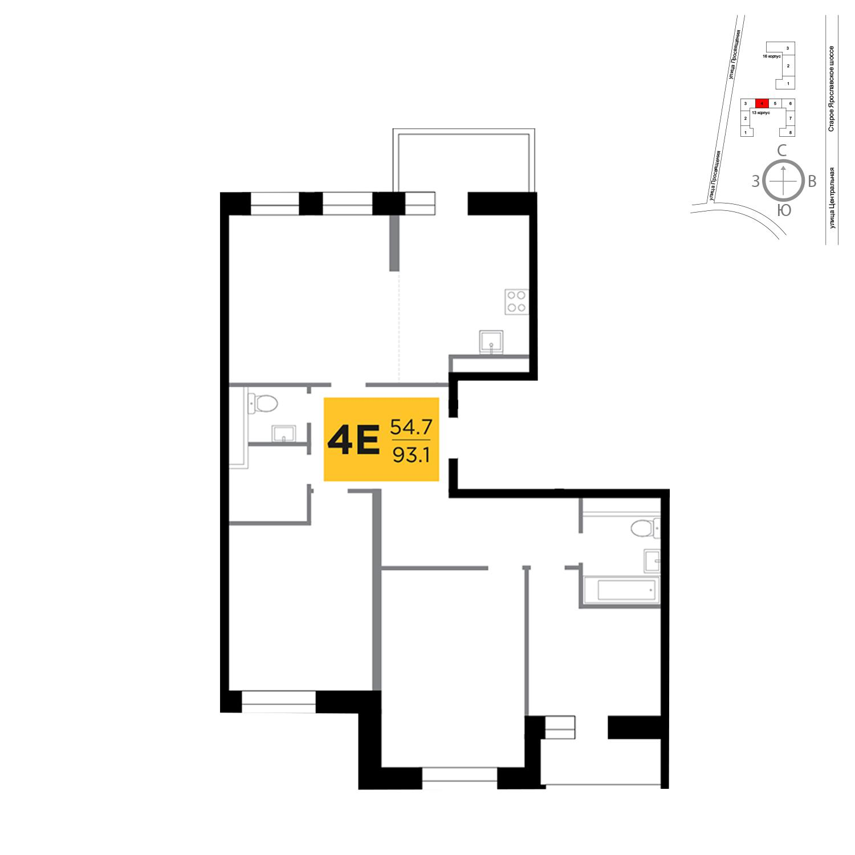 Продаётся 4-комнатная квартира в новостройке 93.1 кв.м. этаж 13/16 за 10 323 300 руб