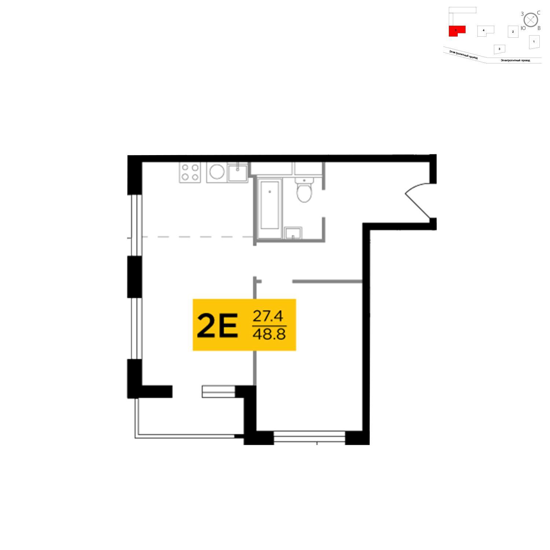 Продаётся 2-комнатная квартира в новостройке 48.8 кв.м. этаж 11/27 за 16 733 316 руб