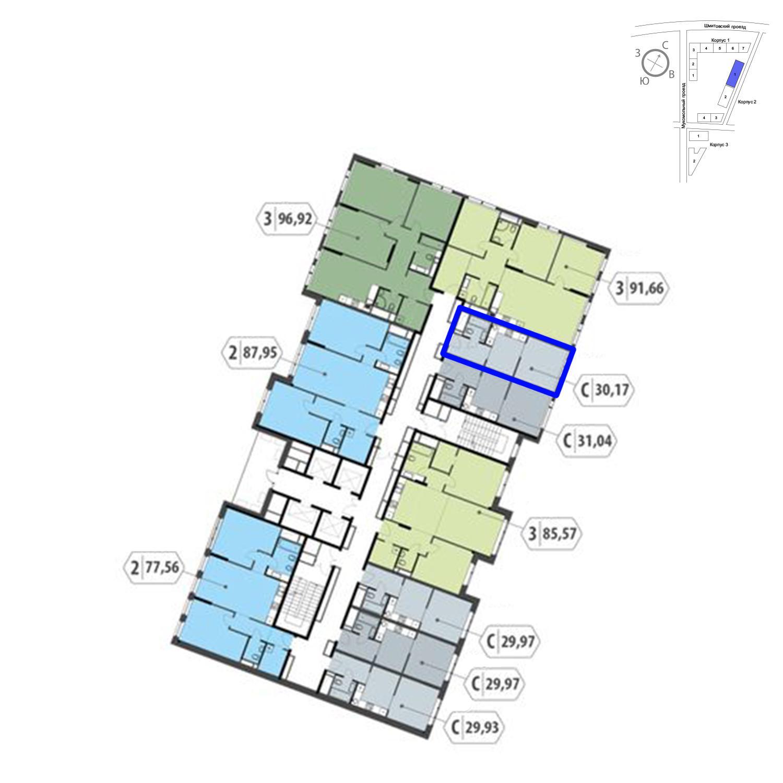 Продаётся  квартира-студия 30.2 кв.м. этаж 23/32 за 9 473 380 руб
