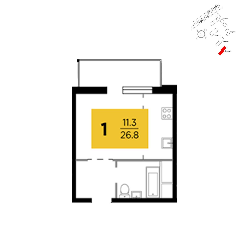 Продаётся 1-комнатная квартира в новостройке 26.8 кв.м. этаж 20/24 за 5 723 585 руб