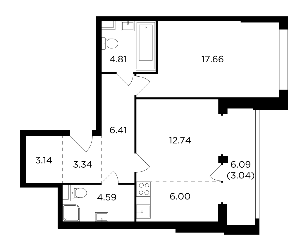 Продаётся 2-комнатная квартира в новостройке 61.7 кв.м. этаж 2/29 за 23 845 161 руб