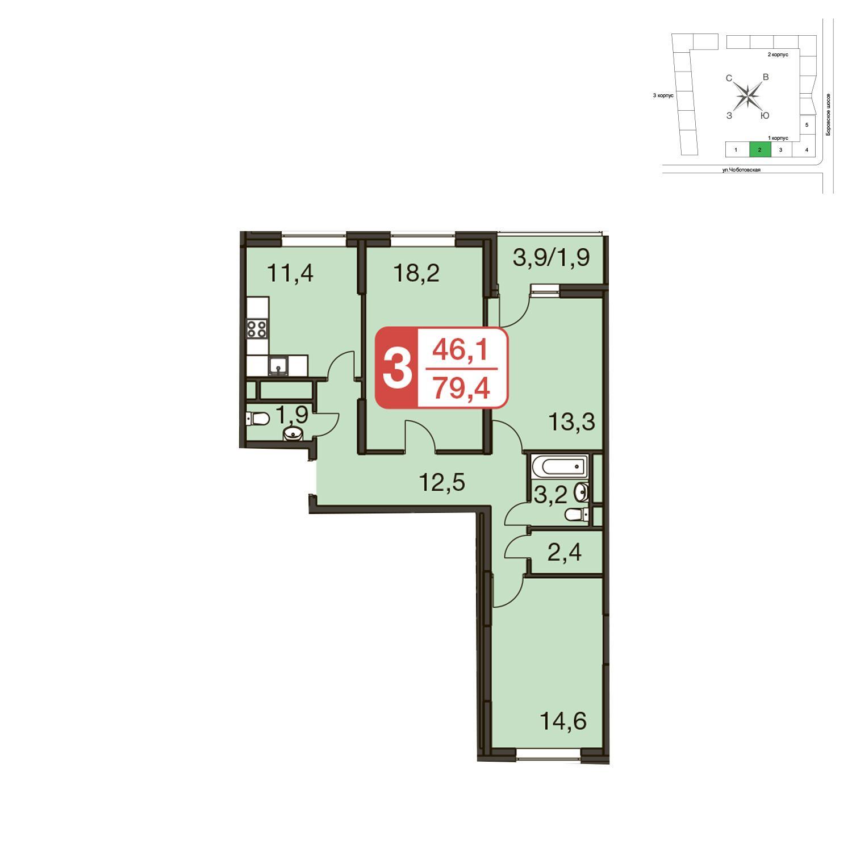 Продаётся 3-комнатная квартира в новостройке 79.4 кв.м. этаж 23/23 за 17 466 570 руб