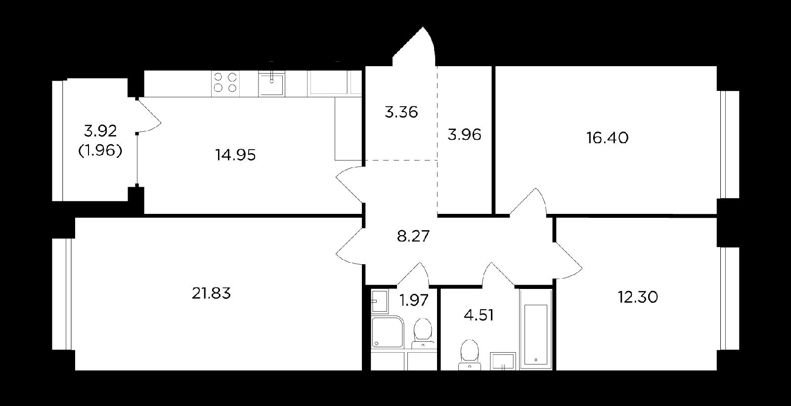 Продаётся 3-комнатная квартира в новостройке 89.5 кв.м. этаж 9/17 за 28 840 477 руб