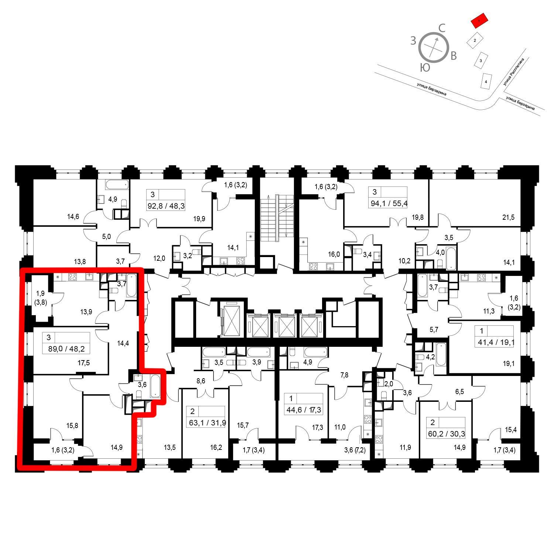 Продаётся 3-комнатная квартира в новостройке 89.0 кв.м. этаж 13/24 за 19 669 000 руб