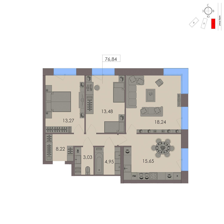 Продаётся 3-комнатная квартира в новостройке 76.8 кв.м. этаж 7/21 за 19 277 400 руб