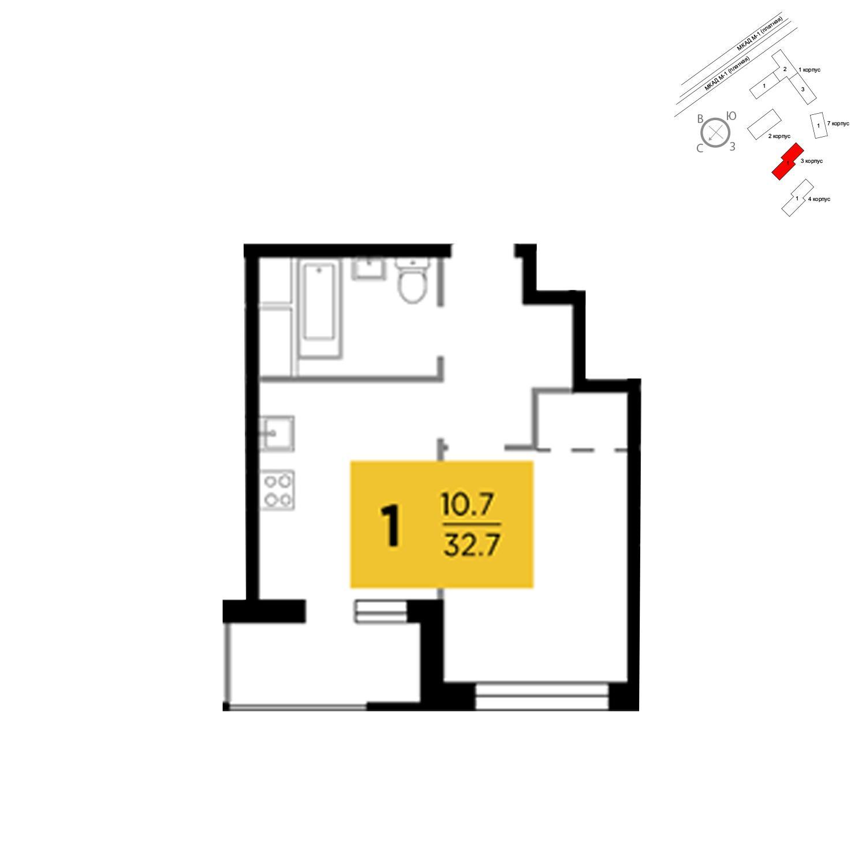 Продаётся 1-комнатная квартира в новостройке 32.7 кв.м. этаж 17/24 за 3 381 723 руб