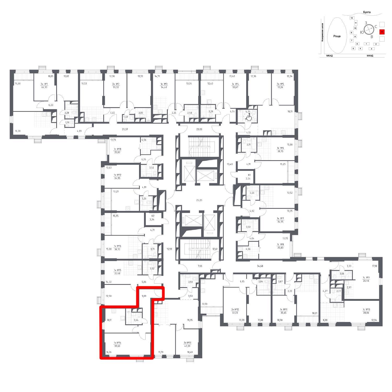 Продаётся 1-комнатная квартира в новостройке 39.6 кв.м. этаж 9/31 за 6 205 162 руб