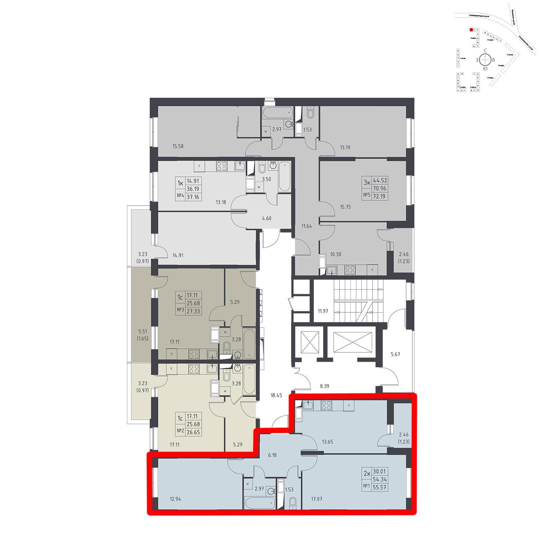 Продаётся 2-комнатная квартира в новостройке 55.6 кв.м. этаж 17/17 за 4 984 240 руб