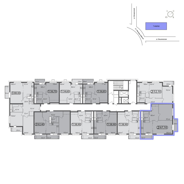 Продаётся 2-комнатная квартира в новостройке 67.0 кв.м. этаж 3/13 за 13 664 400 руб