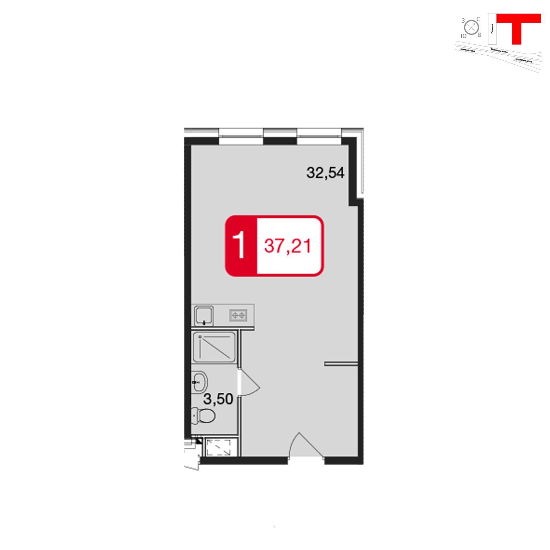 Продаётся 1-комнатная квартира в новостройке 37.2 кв.м. этаж 2/17 за 3 330 295 руб