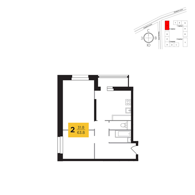 Продаётся 2-комнатная квартира в новостройке 63.8 кв.м. этаж 14/23 за 12 554 686 руб