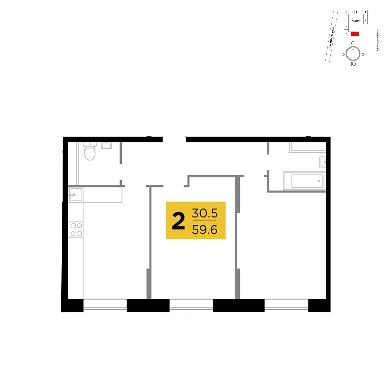 Продаётся 2-комнатная квартира в новостройке 59.6 кв.м. этаж 1/16 за 4 385 010 руб