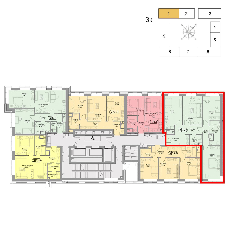 Продаётся 3-комнатная квартира в новостройке 95.2 кв.м. этаж 7/41 за 36 652 000 руб
