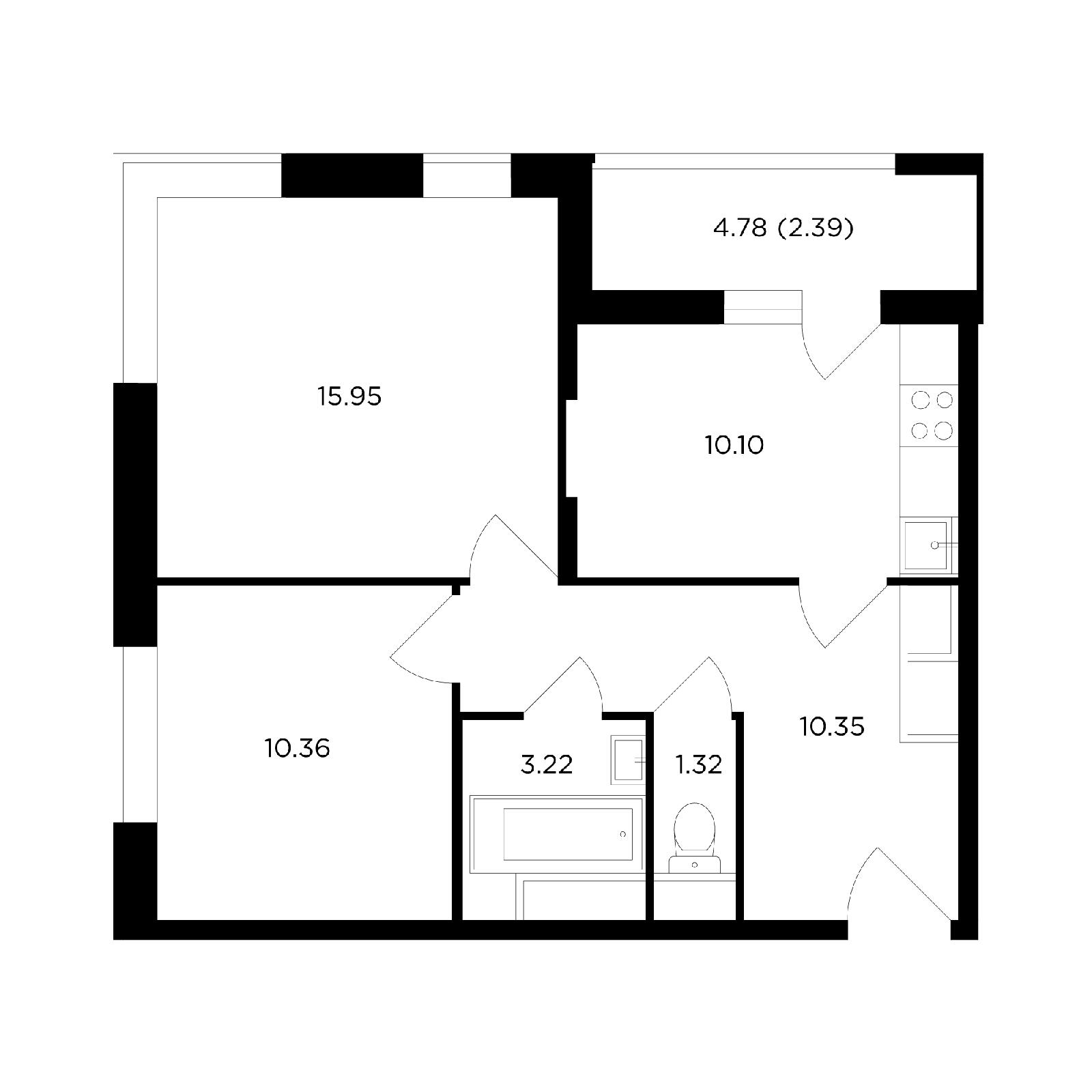 Продаётся 2-комнатная квартира в новостройке 53.5 кв.м. этаж 6/24 за 6 941 049 руб