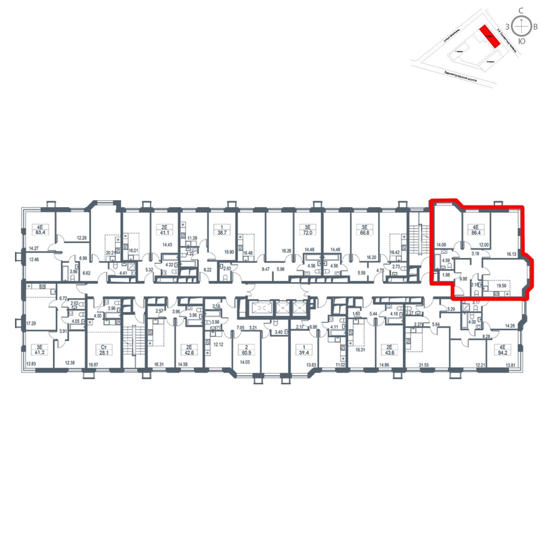 Продаётся 4-комнатная квартира в новостройке 86.4 кв.м. этаж 16/21 за 17 682 240 руб